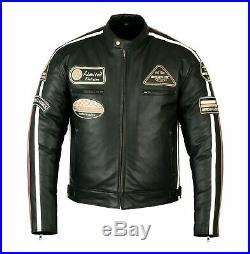 Veste En Cuir Homme Moto, Blouson Biker, Cafe Racer, Retro, Vintage, Trike, L XL