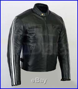 Veste En Cuir Homme Moto Motorbike Jacket Chopper Trike Custom Taille S a 4XL
