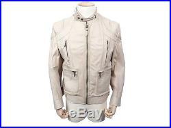 Veste En Cuir Just Cavalli Homme L 52 54 Blouson Beige Leather Jacket 520
