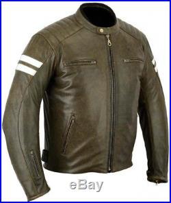 Veste En Cuir Moto, Cafe Racer, Biker, Chopper Blouson, Trike. Rocker, Marron