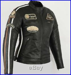 Veste En Cuir Moto Femme, Noir, Vintage, Cafe Racer, Retro, Rocker, Blouson Cuir