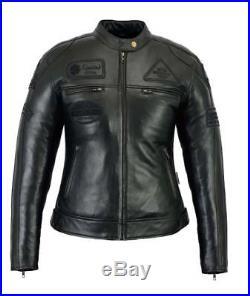 Veste En Cuir Moto Femme Vintage Cafe Racer Jacke Blouson Rocker Retro Noir