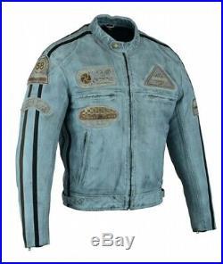 Veste En Cuir Moto Homme, Bleu Vintage, Cafe Racer, Lederjacke, Retro, Biker