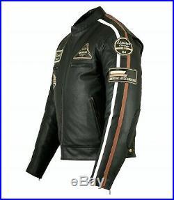 Veste En Cuir Moto Homme, Noir, Cafe Racer, Leather Jacket, Blouson, Rocker