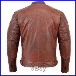 Veste En Cuir Moto Homme Retro Vintage Cafe Racer Blouson En Cuir, Motard Blouson