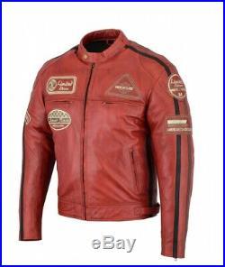 Veste En Cuir Moto Homme, Rouge Vintage, Cafe Racer, Lederjacke, Retro, Rocker