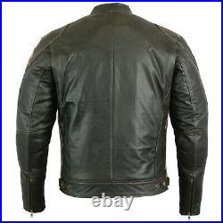 Veste En Cuir Moto Homme Vintage Cafe Racer Leather Jacket Blouson Rocker Veste