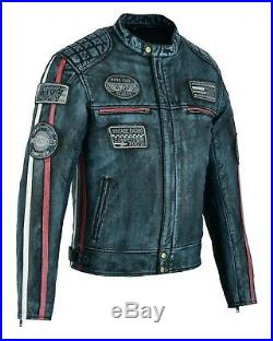 Veste En Cuir Moto Homme, Vintage, Cafe Racer, Lederjacke, Retro, Classic, Biker