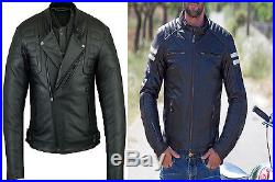 Veste En Cuir Moto Homme, Vintage Motard Veste En Cuir, Cafe Racer Blouson