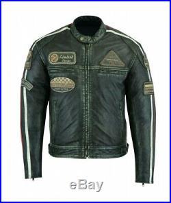 Veste En Cuir Moto, Vintage, Cafe Racer, Blouson Homme, Rocker, Jacket Verte