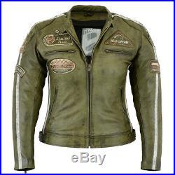 Veste En Cuir Pour Femme Blouson Pour Moto Vintage Beige Biker Chopper Blouson