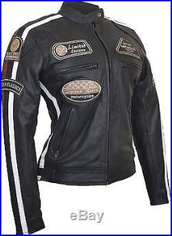 Veste En Cuir Pour Femme, Blouson Pour Moto, Vintage Femme Motard Veste En Cuir