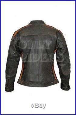 Veste En Cuir Pour Femme, Blouson Pour Moto, Vintage, Marron, Biker, Chopper