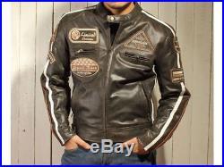 Veste En Cuir Pour Moto, Blouson En Cuir, Vintage, Marron, Tout Des Tailles