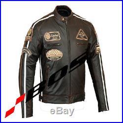 Veste En Cuir Pour Moto. Blouson En Cuir, Vintage, Marron, Tout Des Tailles S-5XL