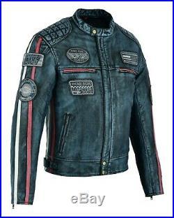 Veste En Cuir Pour Moto, Chopper, Custom, Veste Cuir, Veste Moto Homme S a 5XL