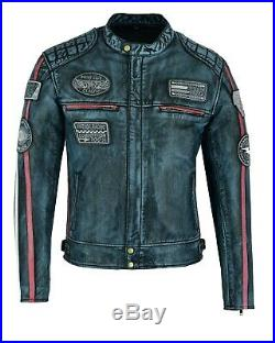 Veste En Cuir Pour Moto, Custom, Veste Cuir, Veste Moto Homme, Retro, S a 5XL