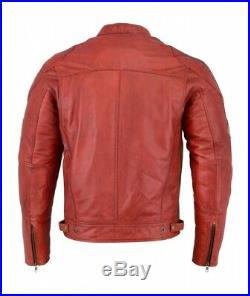 Veste En Cuir Pour Moto, Kustom, Blouson En Cuir, Veste Moto Homme, Rouge, Retro