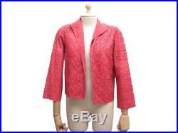 Veste Fendi 42 It 38 Fr M Blouson En Cuir Effile Rose Manteau Pink Jacket 3500