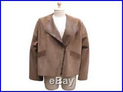 Veste Gucci T 40 L En Daim & Cuir Marron Deer Suede Manteau Blouson Jacket 4200