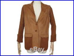 Veste Hermes Blouson 44 L En Cuir Velours De Chevre Marron Manteau Jacket 5000