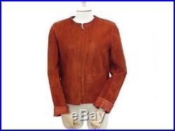 Veste Hermes Femme 36 S Blouson Cuir Velours Suede Brique Leather Jacket 4000