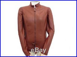 Veste Hermes Femme 36 S Blouson En Cuir Agneau Marron Avec Ceinture Jacket 4000