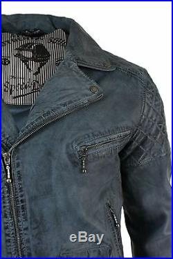 Veste Homme Biker Rétro Ceintrée Fermeture Diagonale Cuir Véritable Bleu Gris