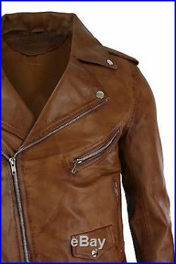 Veste Homme Cuir Souple Coupe Ceintrée Fermeture Diagonale Marron Style Brando