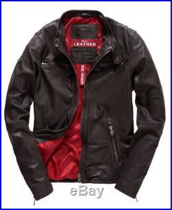 Veste Jacket Blouson Superdry Real Hero Cuir Leather Marron XXXL XL 3XL