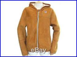 Veste K-way Lily Sweat Capuche L 52 Cuir Mouton Retourne Blouson Jacket 1100