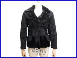 Veste Louis Vuitton M 38 40 Blouson En Cuir Astrakan Fourrure Noir Jacket 3500
