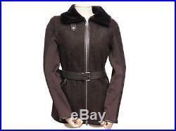 Veste Prada 38 M 148178 Blouson En Cuir Peau Lainee Mouton Manteau Jacket 2000