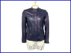 Veste Prada En Cuir D'agneau Bleu Petrole 36 S Blouson Leather Jacket 2000