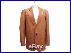 Veste Prada En Cuir Marron 52 It 56 Fr XL Blouson Manteau Leather Jacket 2800