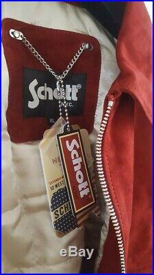 Veste SCHOTT NEUVE avec étiq/ Blouson en cuir daim rouge pour femme (taille XL)