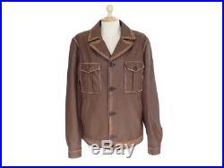 Veste Tod's Taille 50 L Blouson En Cuir Marron Brown Leather Jacket Coat 2900