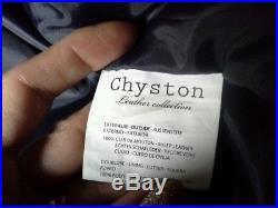 Veste blouson 100% CUIR de mouton M bleu marine Neuf CHYSTON Cuir city