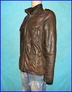 Veste blouson CHEVIGNON 57 en cuir d'agneau marron taille L super état