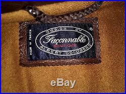 Veste blouson FACONNABLE en cuir marron doublé laine taille L TBE