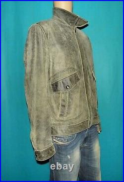 Veste blouson HUGO BOSS lertrand en cuir de veau noir vieilli taille L