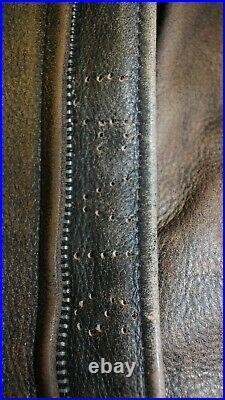 Veste blouson LEVI'S vintage cuir marron effet vieilli taille XL