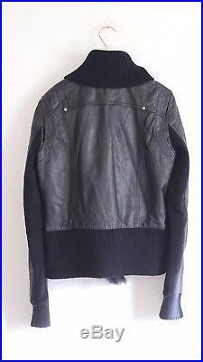 Veste blouson PATRIZIA PEPE 38/40 I46 cuir peau lainée agneau bleu