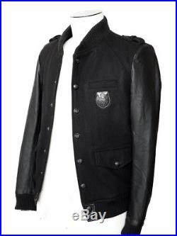 Veste blouson The KOOPLES cuir et laine noire Homme prix boutique 450 Taille L