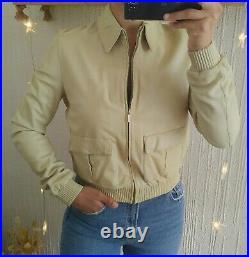 Veste blouson aviateur bomber en cuir d'agneau beige GUCCI T36 T38 Très bon état