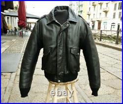 Veste blouson bomber en cuir noir SCHOTT aviateur vintage taille 52 (XL)