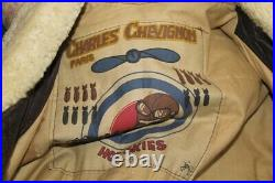 Veste blouson cuir marron agé CHEVIGNON vintage 80 original aviateur taille XL