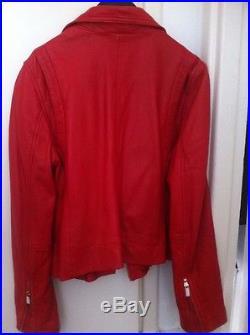 Veste blouson cuir perfecto rouge Stradivarius taille M