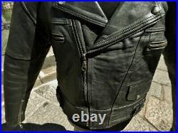Veste blouson en cuir de moto vintage biker caferacer Vip perfecto taille L
