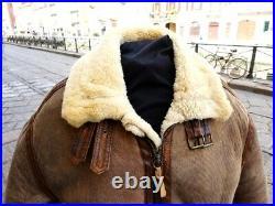 Veste blouson en cuir de mouton shearling vintage cockpit raf b3 rocky taille L
